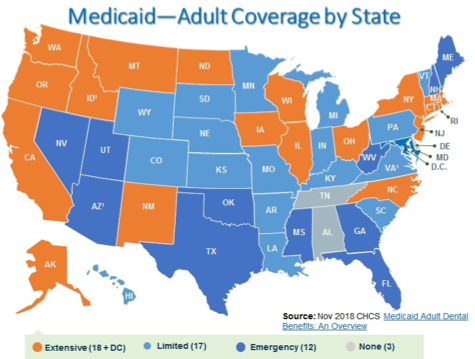 Medicaid-Adult Coverage map