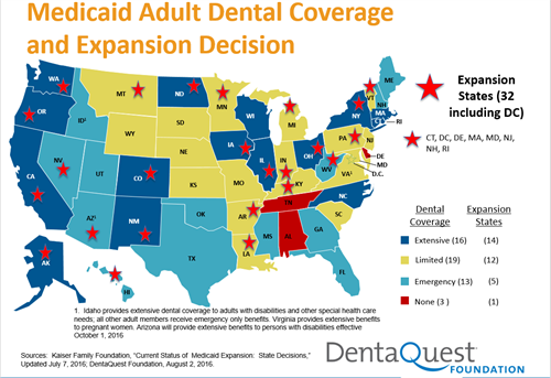 Medicaid Adult Dental Coverage expansion map